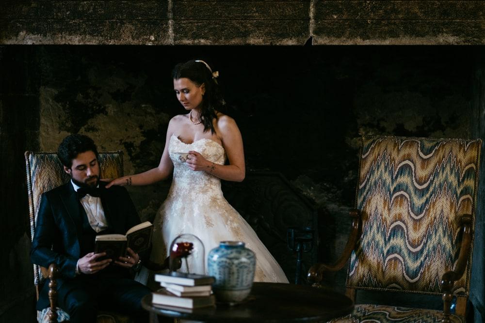 Séance couple mariage au château