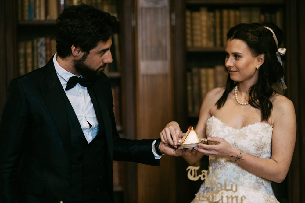 Partage gâteau mariage