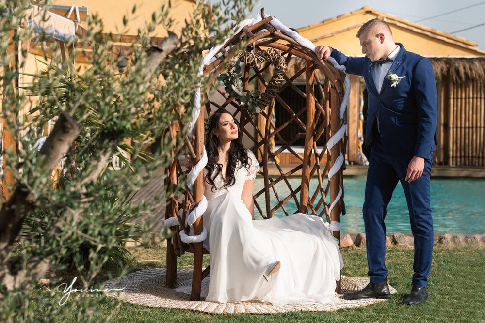 Couple mariés thème bohème chic